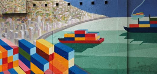 Nicely stylised Street Art of Valparaiso harbour