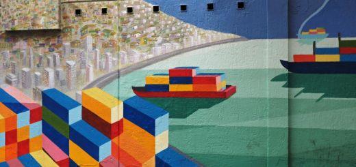 Nicely stylised Street Art of Valparaiso harbour