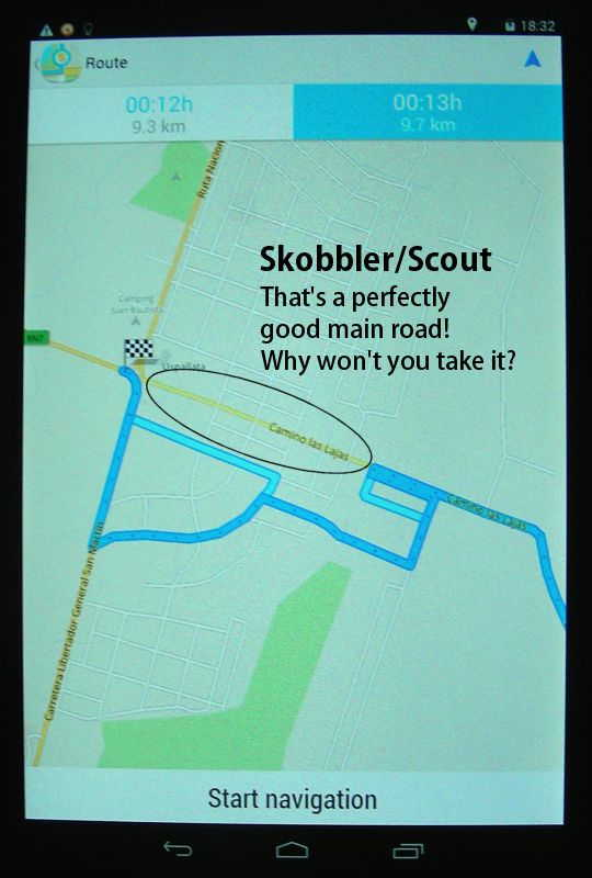Plain weird: Skobbler refuses to take the main road (Navigator not)