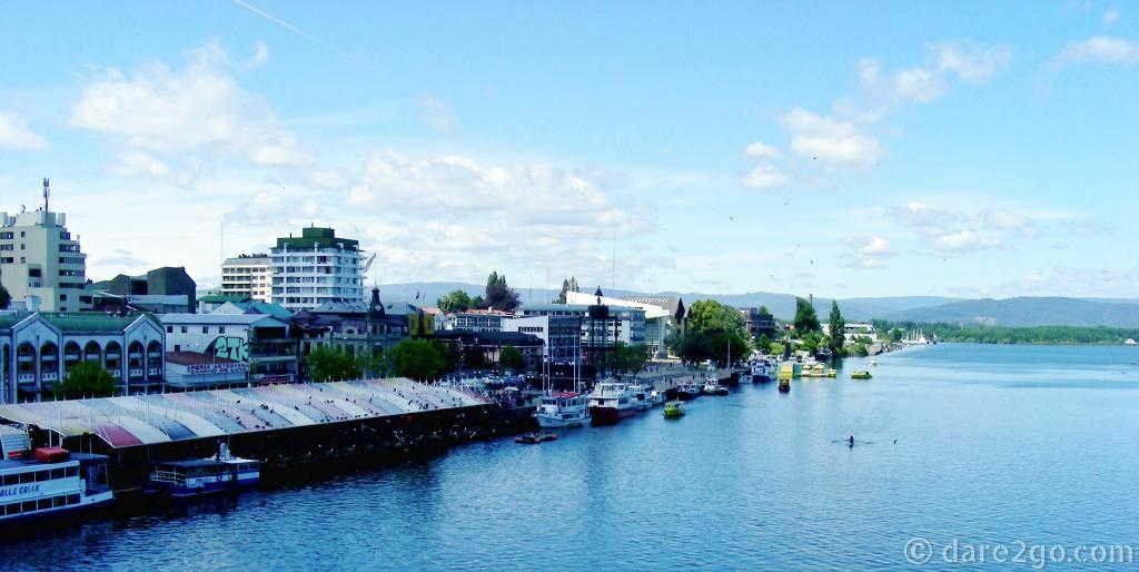 Valdivia's waterfront as seen from the bridge