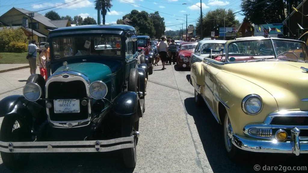 Historic car meet in Futrona, Chile