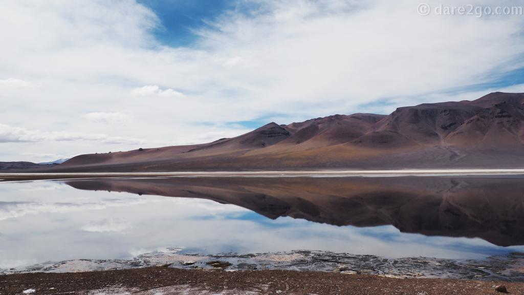 reflections on Laguna Aguas Calientes in Chile - shortly before the border with Argentina