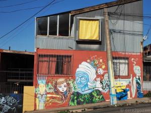 Valparaiso StreetArt on top of Calle Cumming.