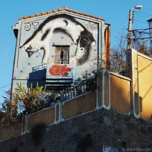 StreetArt scene in Valparaiso, Calle Ecuador: large cat mural on a building's facade.