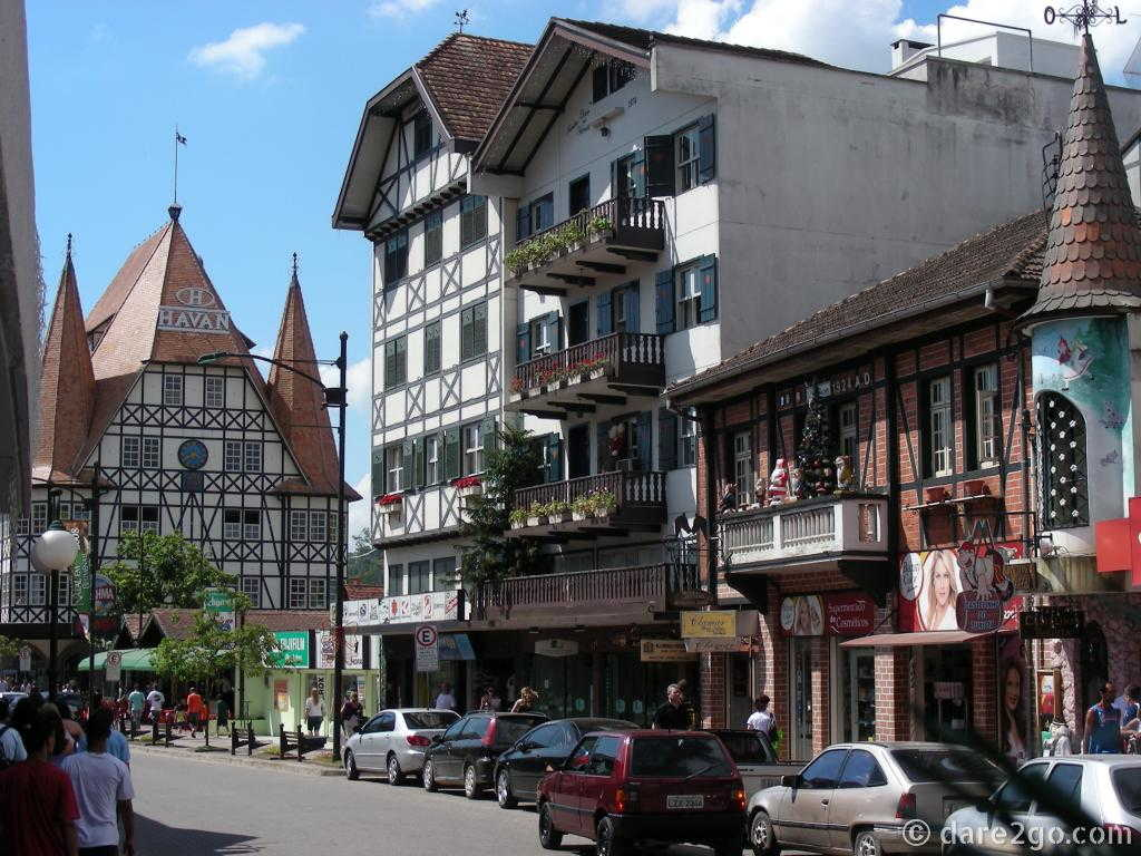 Blumenau's main street is lined with fake half-timbered houses.
