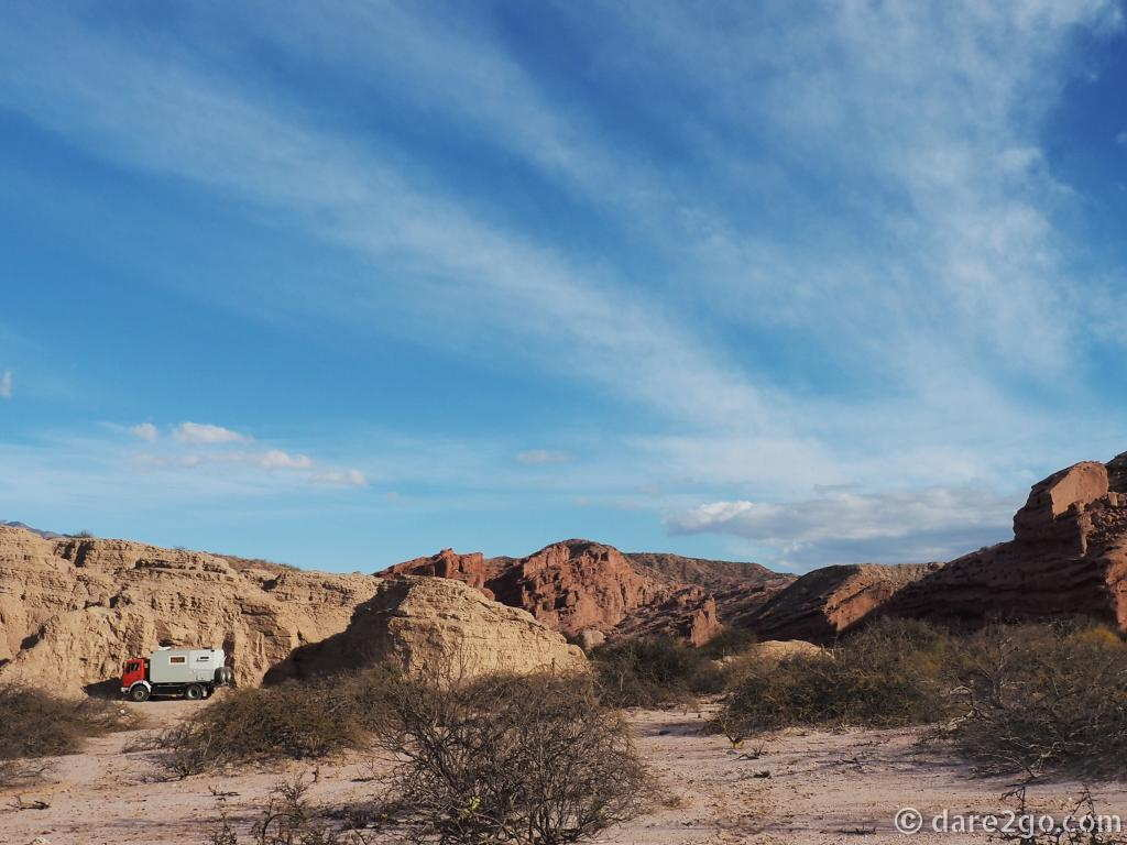 Still one of our most favourite free camping sites, found by chance! Outside Cafayate in the quebrada.
