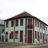 A street corner with historic houses in Antonio Prado, Brazil