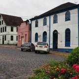 The opposite street corner with historic houses in Antonio Prado, Brazil