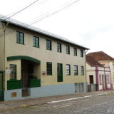 A row with historic Italian style houses in Antonio Prado, Brazil