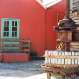 An old winepress outside a restaurant in Monte Belo, Brazil