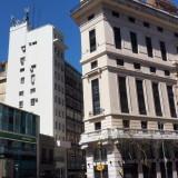 Buenos Aires: diagonal streets make for interesting corner architecture, like here on Av. Peña