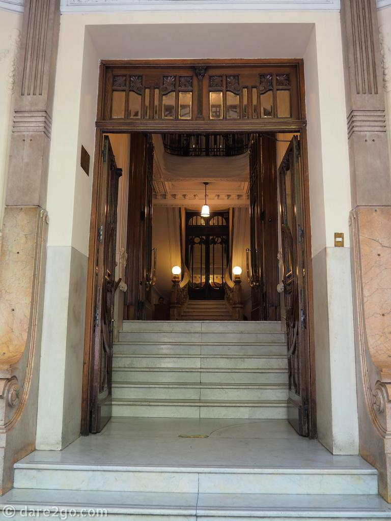 Buenos Aires: walk slowly and peek into some of the pompous entrances in the centre of the city!