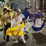 Carnival in Montevideo: two eldery couples (Mama Vieja & Gramillero) dancing