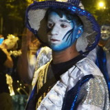 Carnival in Montevideo: face of a drummer