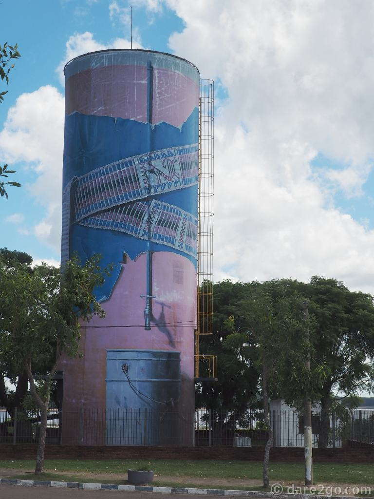 The water tower on top of the hill. This is the first public art piece you will pass when you drive into San Gregorio de Polanco in Uruguay.