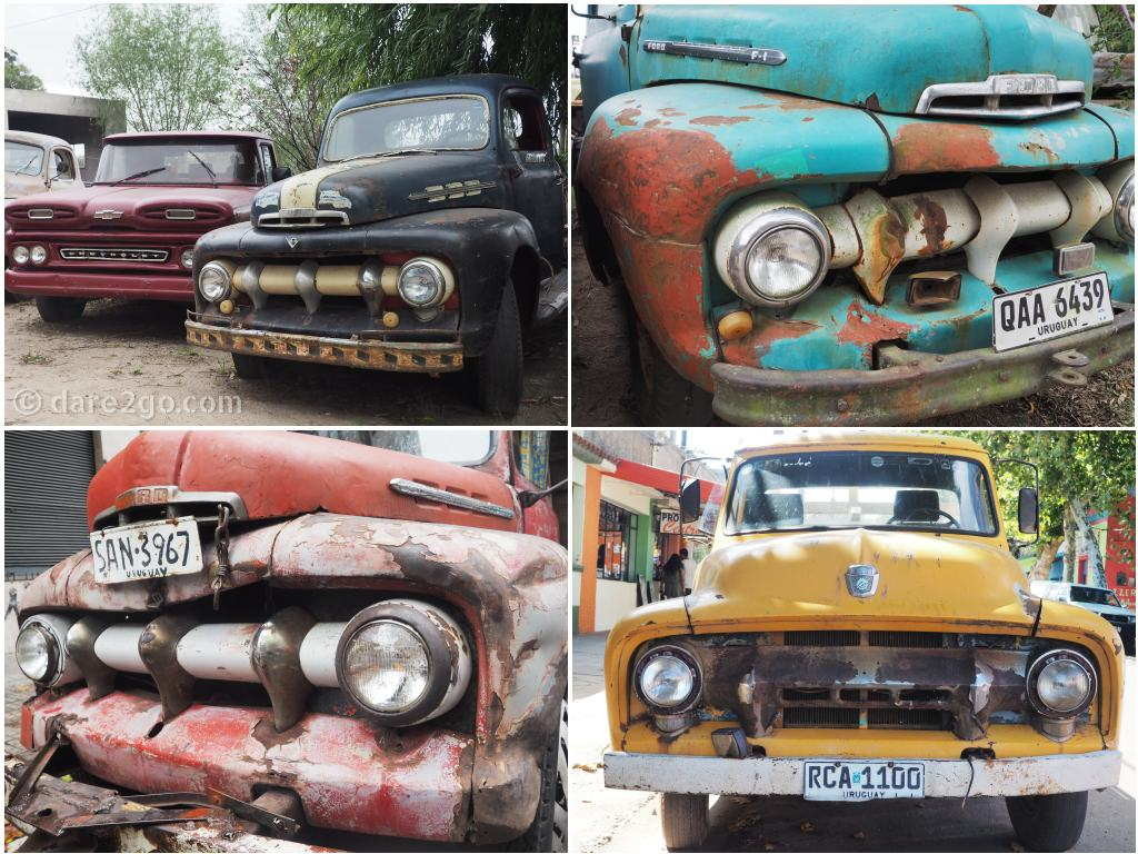 Where ever we visited in Uruguay we always noticed lots of old American pick-up trucks in various states of (dis-)repair. All these were still in use, except the first one top left, which I noticed on a used vehicle sales yard.