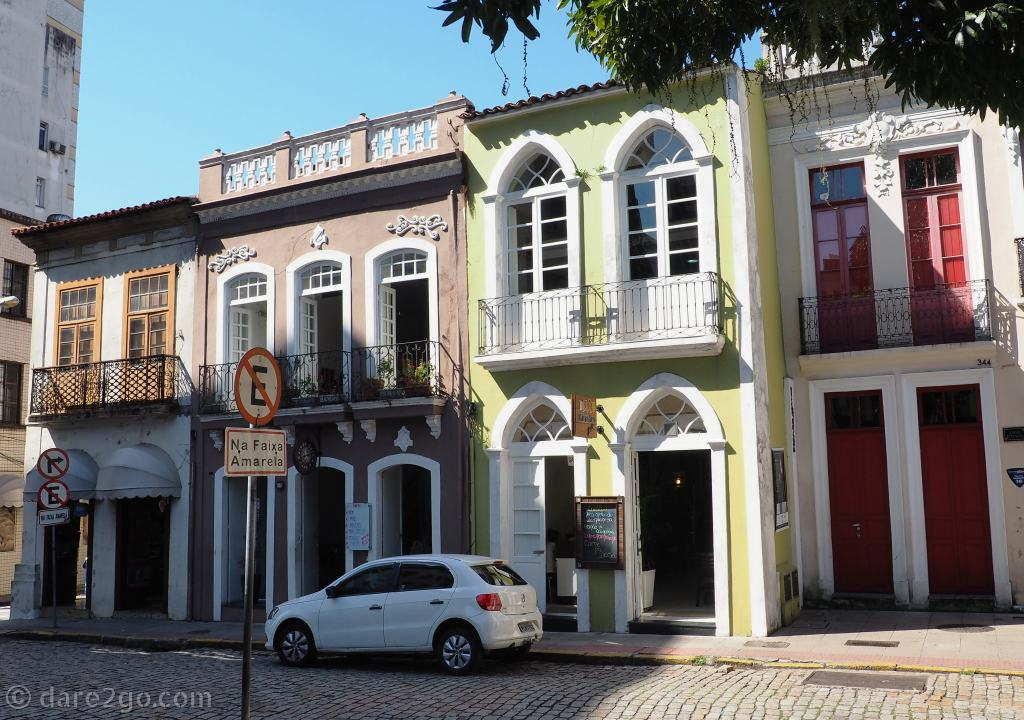 Some of the colourfully renovated historic houses around Praça XV de Novembro in the city centre of Florianópolis