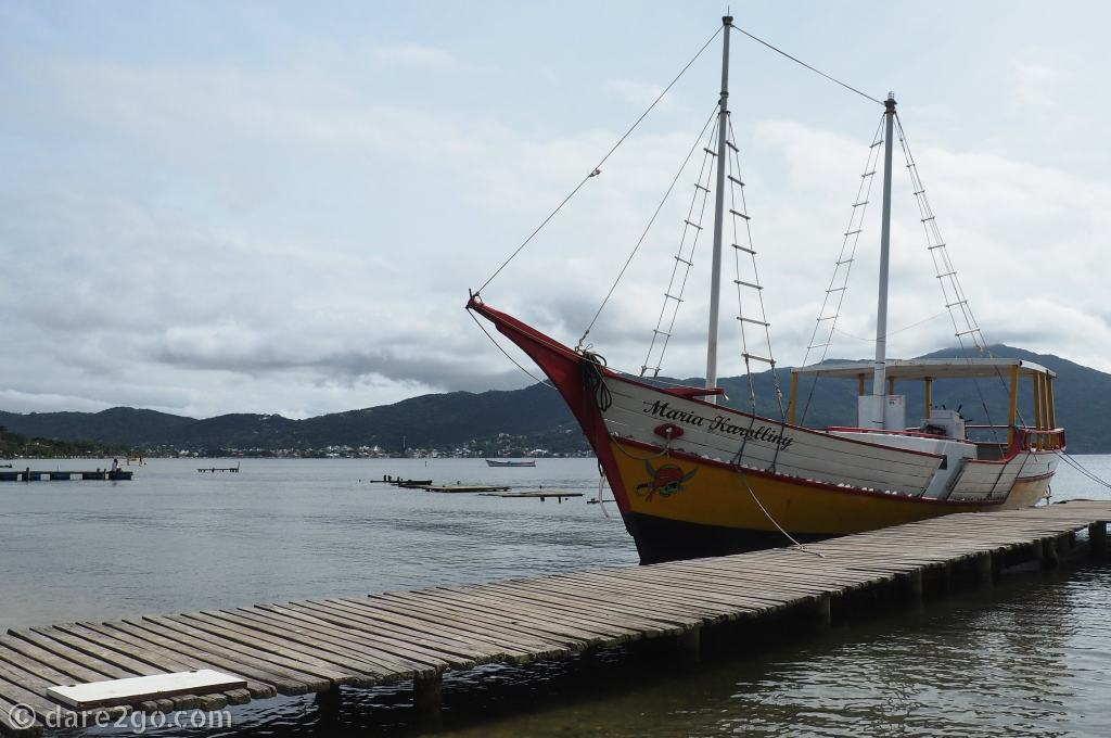 One of the boats which ferry guests to restaurants across Lagoa da Conceição