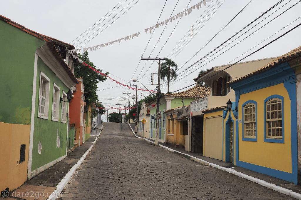 Main street through the historic Portuguese village of Ribeirão da Ilha