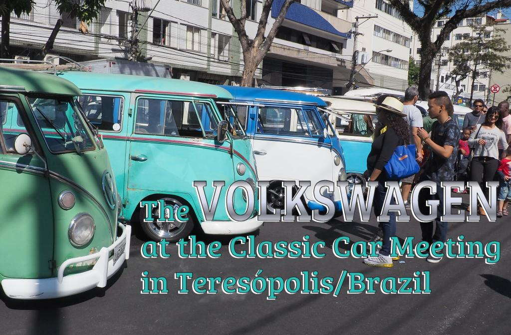 Some of the VW Kombi vans lined up at the Classic Car Meeting in Teresópolis.