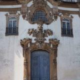 The facade of Igreja Bom Jesus de Matozinhos in the centre of Ouro Preto.