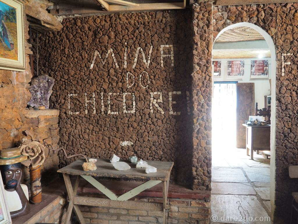 The entrance to Mina do Chico Rei. It's a quirky building with beautiful hand-carved wooden doors – worth a look, even if you don't pay to go inside the mine.