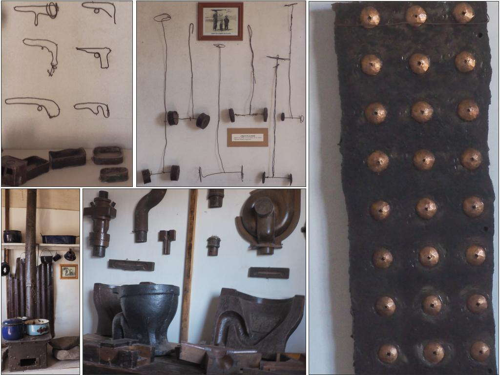 Some of the things made at Humberstone. From top left to bottom left: kids' pistols made from wire, other wire and can kids' toys, a section of copper riveted metal, moulds for pipes and toilet bowls, an old kitchen stove.