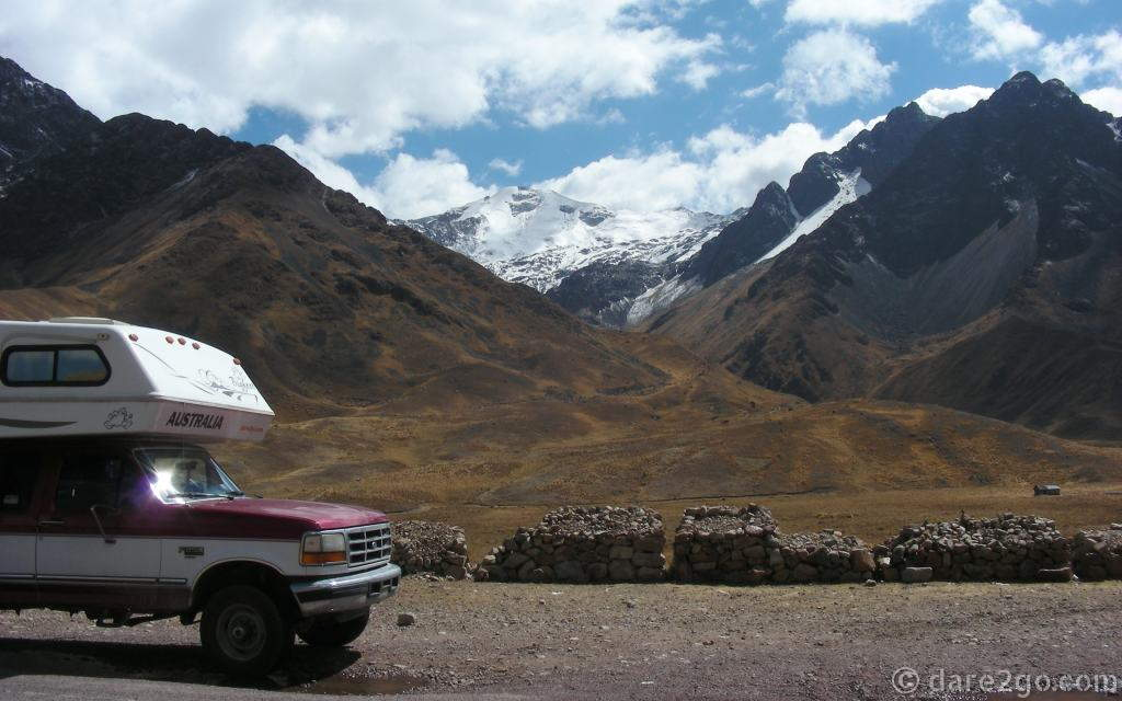 In 2008 we stopped for this vista of a snow-capped mountain on the border between the Cusco and Puno provinces.