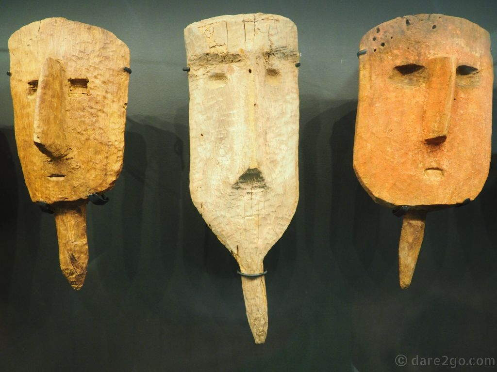 These carved wooden heads were used by the Wari when burying their dead. The false head was meant to imitate the face of the deceased and was placed on the outside of the funeral bundle.