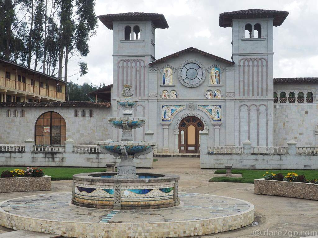 Santuario de la Virgen del Rosario: the front of the church and the plaza - tiles everywhere.