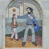 Santuario de la Virgen del Rosario: mosaic mural on the exterior of the building.