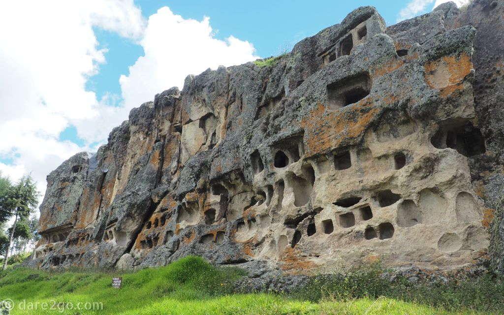 Ventanillas de Otuzco, near Los Baños del Inca: these are carved out burial niches of the Caxamarca culture.