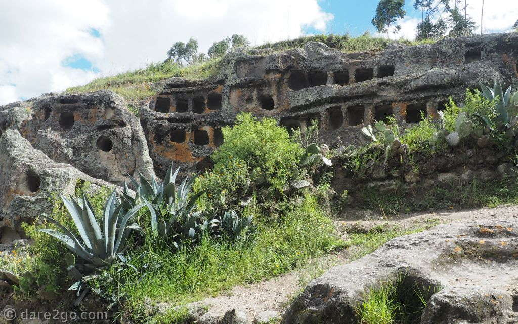 Another view of the burial niches at Ventanillas de Otuzco, outside Cajamarca.