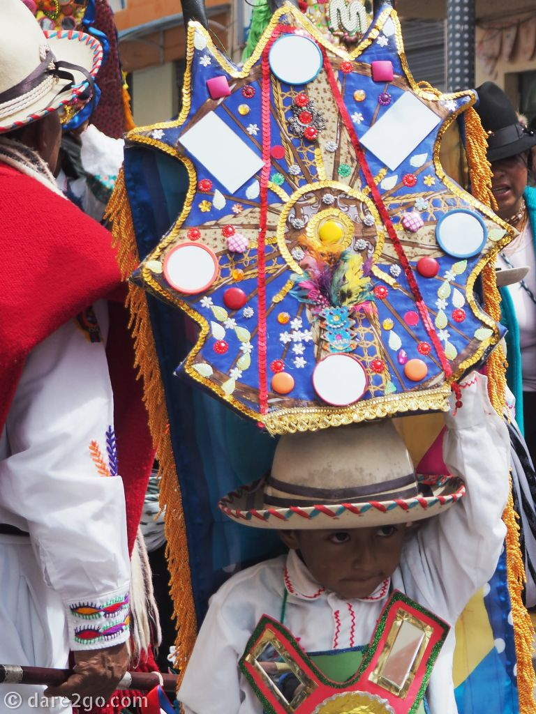 Fiesta in Pujilí: I think his head piece was nearly as tall as he was – without the bowler hat.