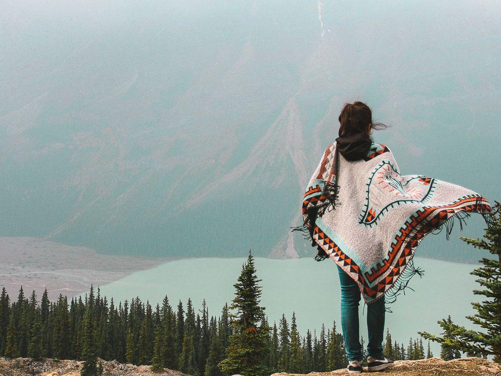 Pilar from Elantitours admires a glacial lake in Canada