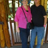 Here we are on the walkway of the wooden pavilion at Recinto del Pensamiento.