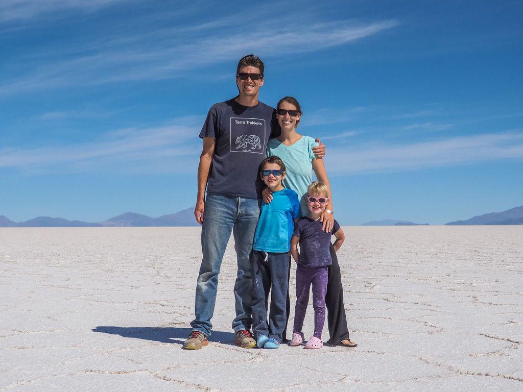 Our family on the Salar de Uyuni, Bolivia, Thanksgiving Day