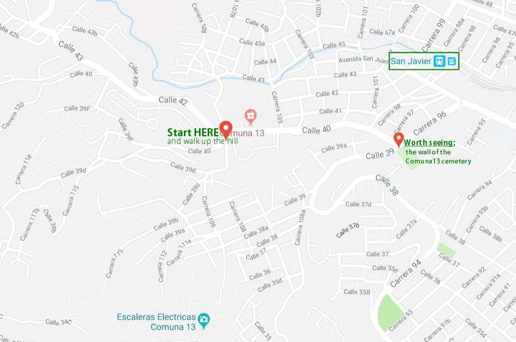 Google map to Comuna 13 street art gallery.