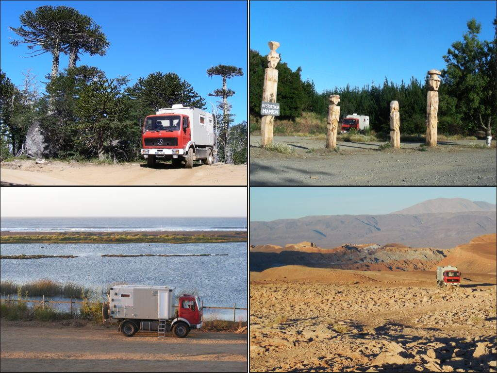 During our overland trip through Chile we found many picturesque places to camp overnight. Here a small selection: under Araucaria trees, next to Mapuche totem poles, at the coast in Pichilemu, outside San Pedro de Atacama.